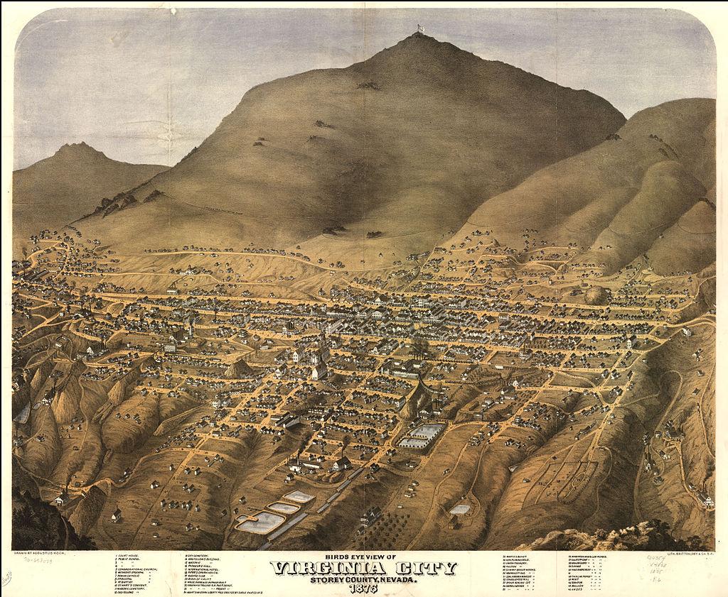 Birds eye view of Virginia City, Storey County, Nevada. Drawn by Augustus Koch. Lith. Britton, Rey & Co. Public Domain